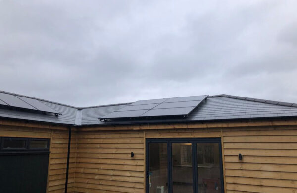 Front view of on roof solar panel system fitted isle of wight
