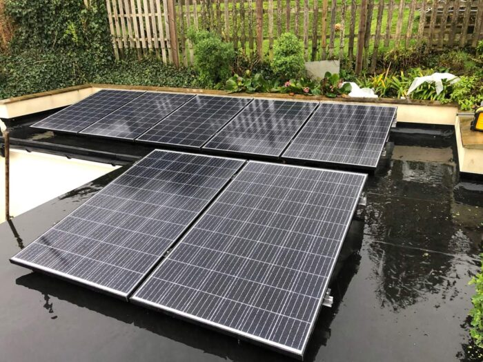 Flat roof solar panel system on the isle of wight