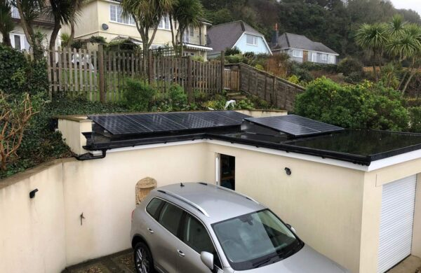 Garden office with solar panel system on the flat roof isle of wight