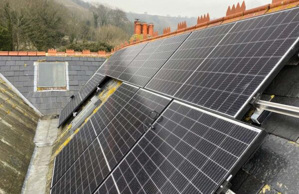 completed solar install on a roof isle of wight