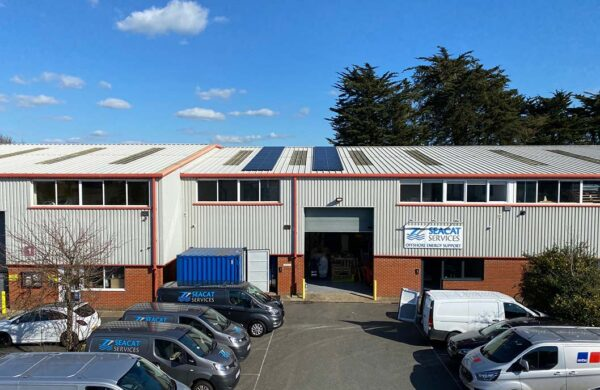 Seacat Services Cowes Solar PV on roof by island renewables