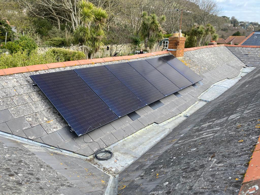 Island renewables solar panel system fitted to roof