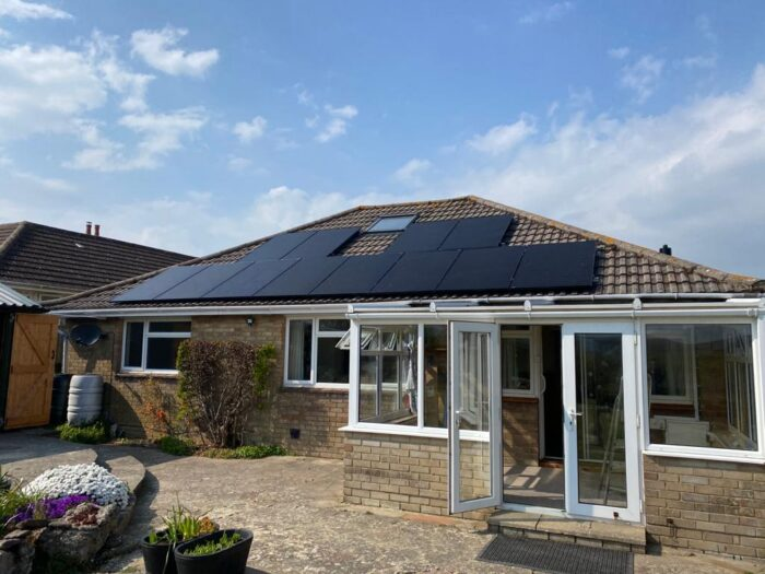 House roof after solar panels fitted by island renewables isle of wight