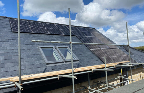 Side view of completed solar pv system by island renewables