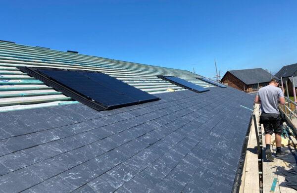 Solar panels with slate rood below island renewables