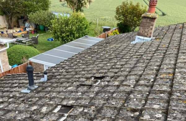 Before panels were fitted to roof island renewables