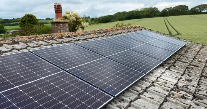 Completed solar panels fitted by island renewables
