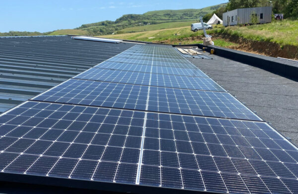 Full view of solar panels fitted by island renewables