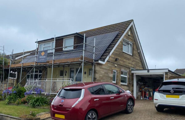 Roof Solar panels side view of house