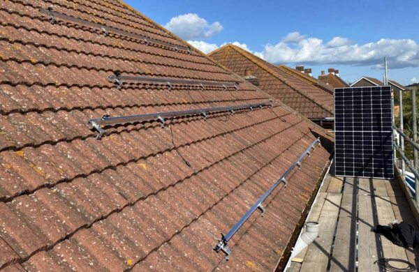 Solar panel mounting brackets fitted by island renewables
