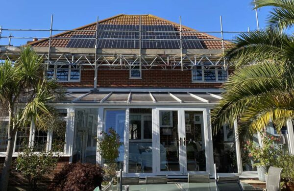 house showing solar panels fitted by island renewables