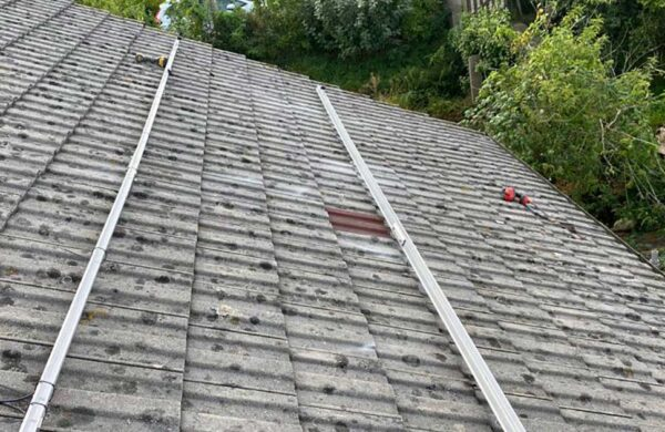 Solar panel mounting rails attached to roof by island renewables